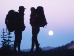 Backpacking couple watching the moonrise Photography by Kevin Syms Sun Valley, Idaho